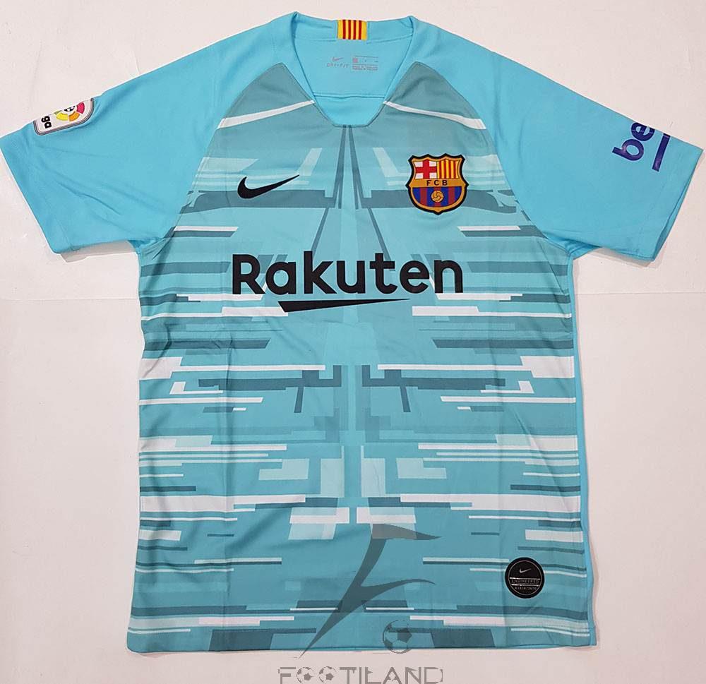 لباس دروازه بانی بارسلونا 2020 آبی کمرنگ با طرح گرافیکی یقه پیراهن گرد بصورت تیشرت آستین کوتاه