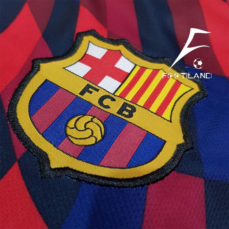 کیت تمرینی بارسلونا 2021 آبی اناری شطرنجی با لوگو و آرم نایک گلدوزی شده