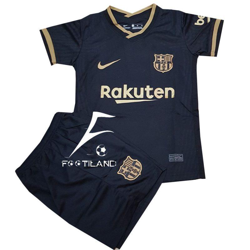 پیراهن شورت بچه گانه دوم بارسلونا 2021 به رنگ مشکی