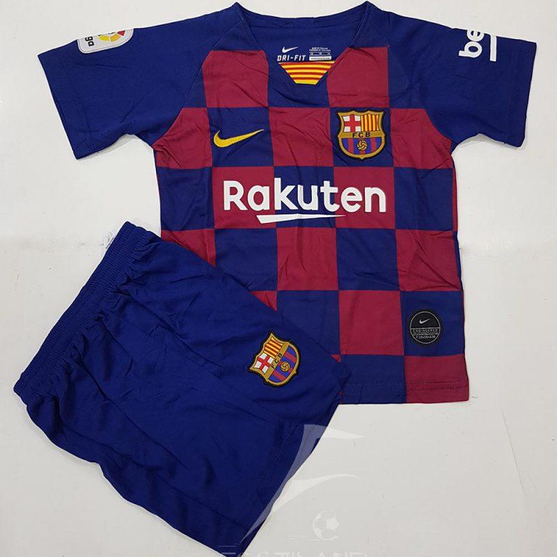 دست لباس پیراهن شورت بچه گانه اول بارسلونا پسرانه