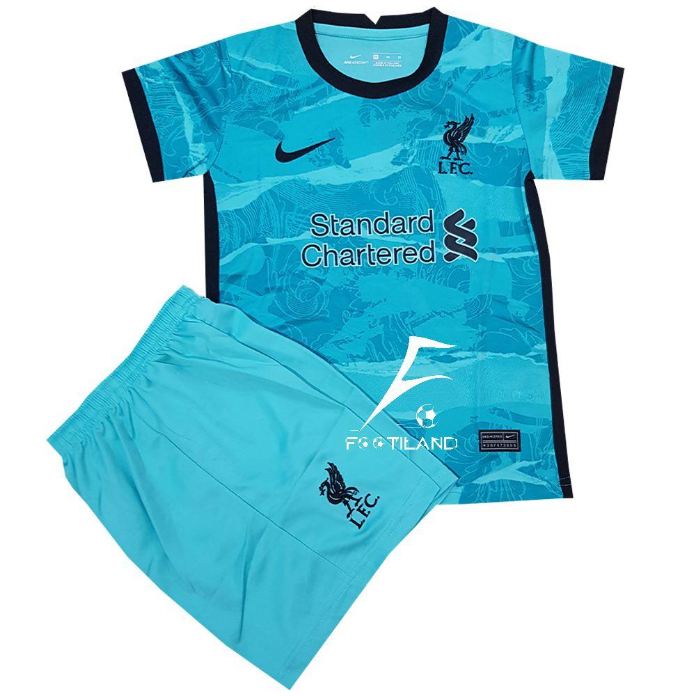 لباس دوم بچگانه لیورپول 2021 به رنگ سبز آبی