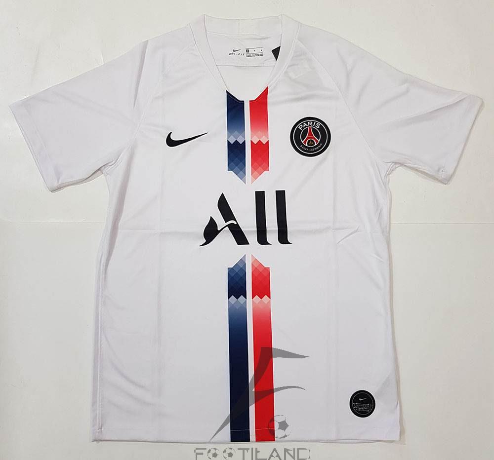 لباس پاریس سن ژرمن سفید 2020 با زمینه سفید یقه پیراهن هفت بصورت تیشرت آستین کوتاه