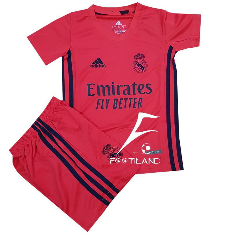 لباس دوم رئال مادرید بچه گانه 2021 به رنگ صورتی